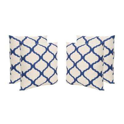Fira Beige and Blue Square Outdoor Throw Pillows (Set of 4)
