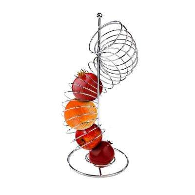 Stainless Steel Twisted Orange Fruit Holder in Silver
