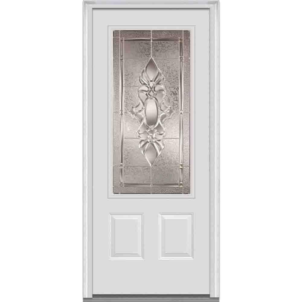 MMI Door 36 in. x 80 in. Heirloom Master Right Hand 3/4 Lite 2-Panel Primed Steel Prehung Front Door