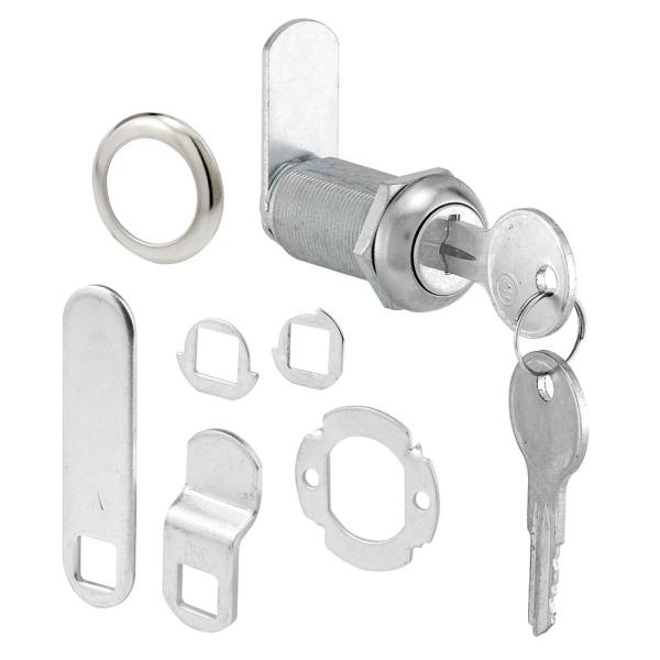 Drawer and Cabinet Lock, 1-3/8 in., Diecast, Stainless Steel, 1 in. Max. Panel