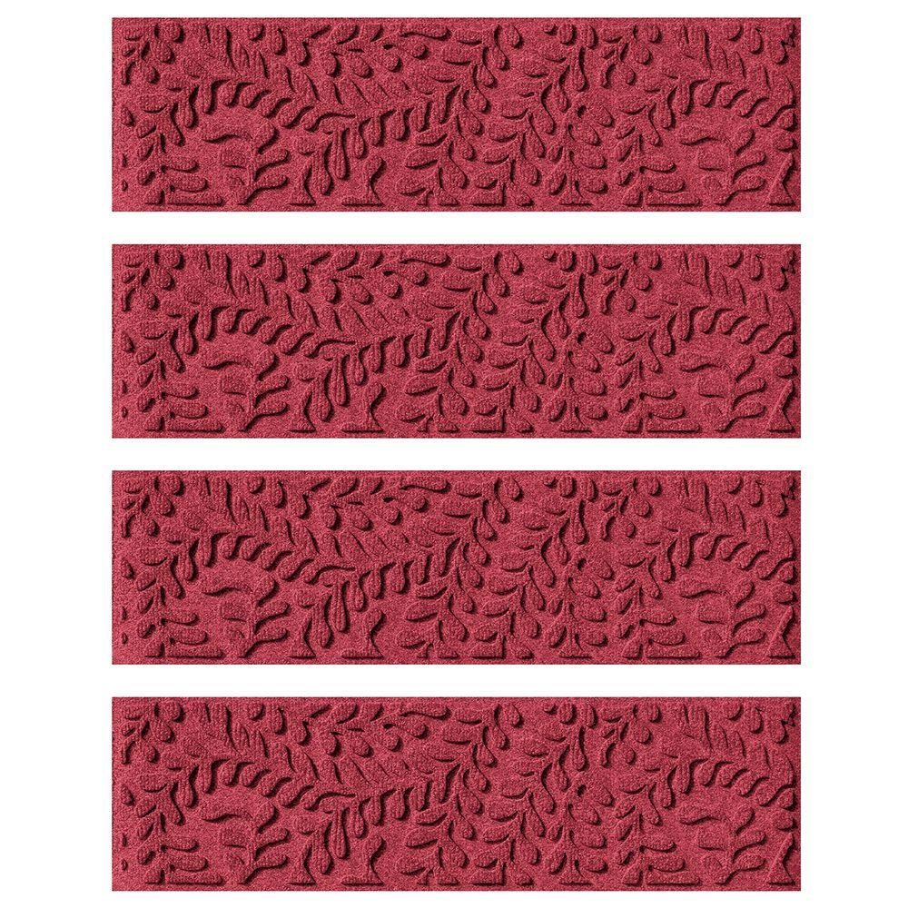 Red/Black 8.5 in. x 30 in. Boxwood Stair Tread Cover (Set