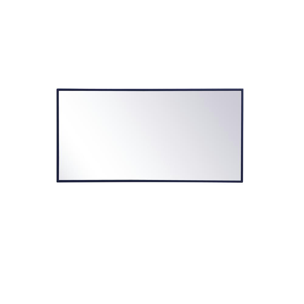 Medium Rectangle Blue Modern Mirror (36 in. H x 18 in. W)