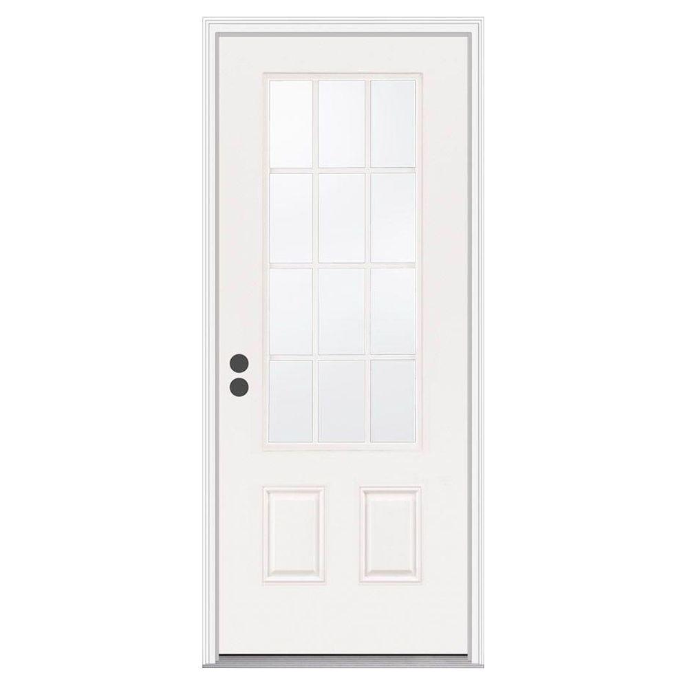 JELD-WEN 32 in. x 80 in. 12 Lite Primed Steel Prehung Right-Hand Inswing Front Door w/Brickmould