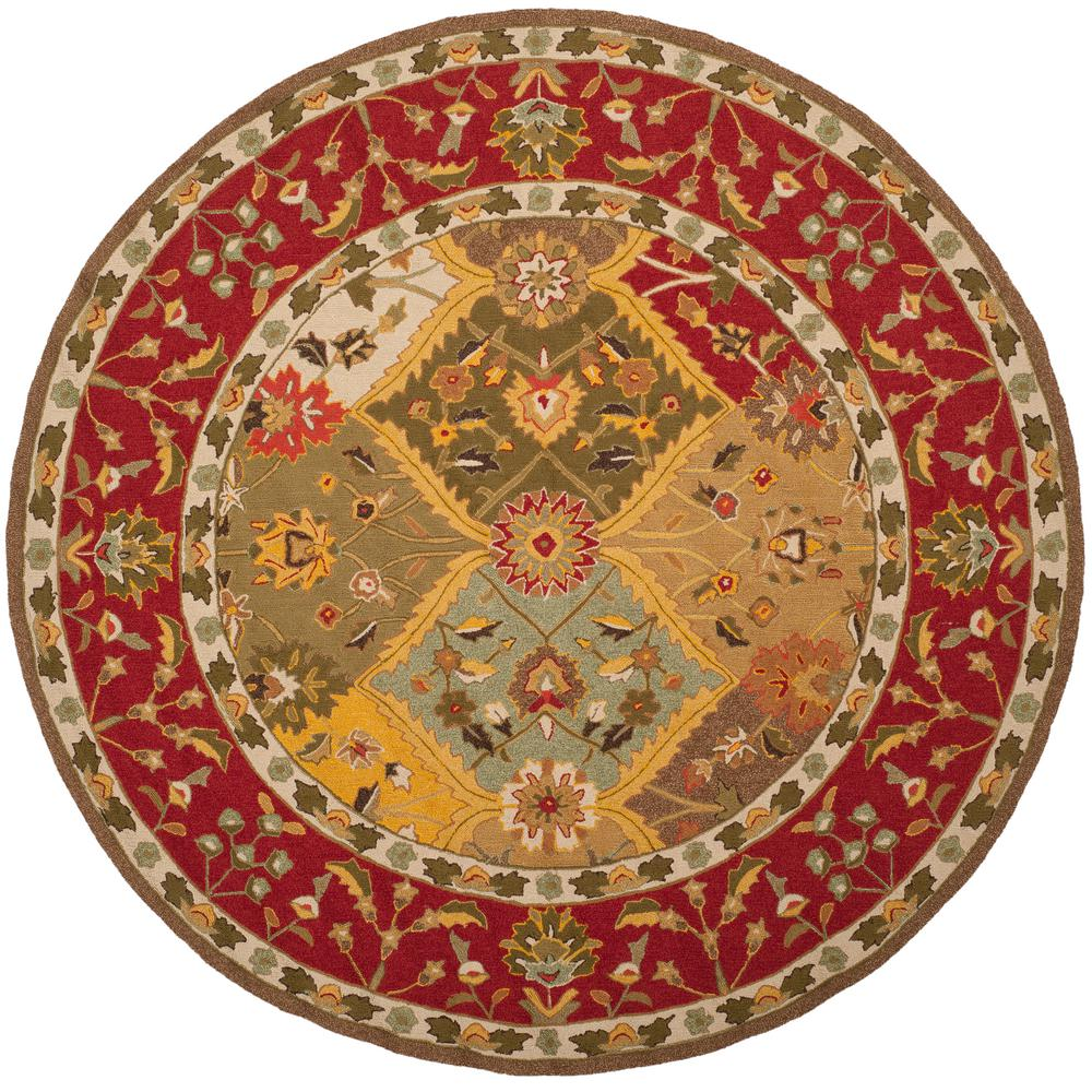 Easy Care Multi/Red 8 Ft. X 8 Ft. Round Area Rug