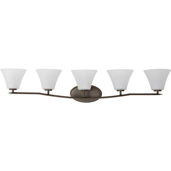 Bravo Collection 5-Light Antique Bronze Bathroom Vanity Light with Glass Shades