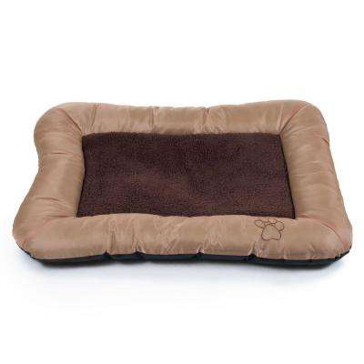 Medium Tan Plush Cozy Pet Crate Dog Pet Bed
