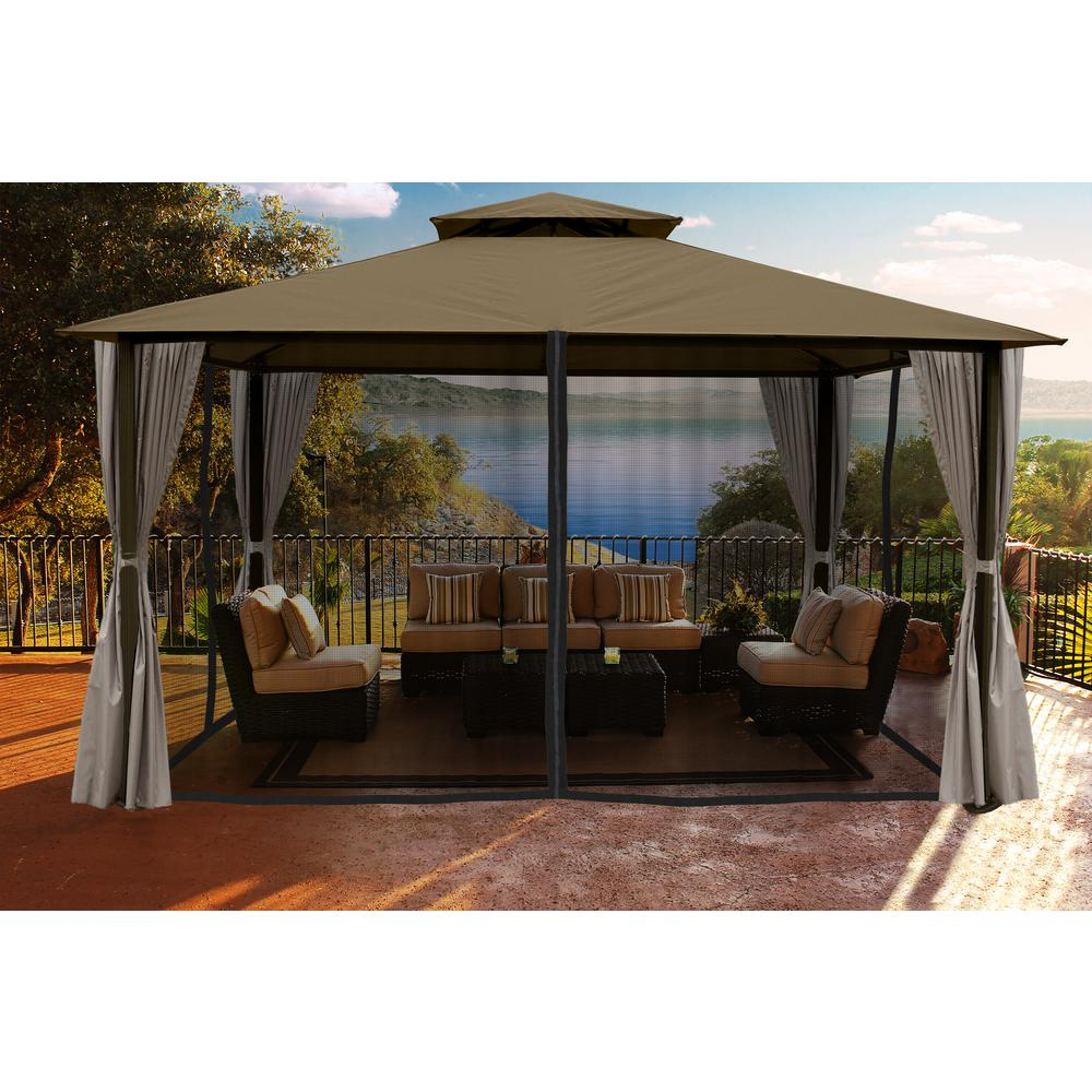 Gazebo With Sand Color Roofand Privacy Curtains And