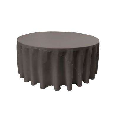 120 in. Round Charcoal Polyester Poplin Tablecloth
