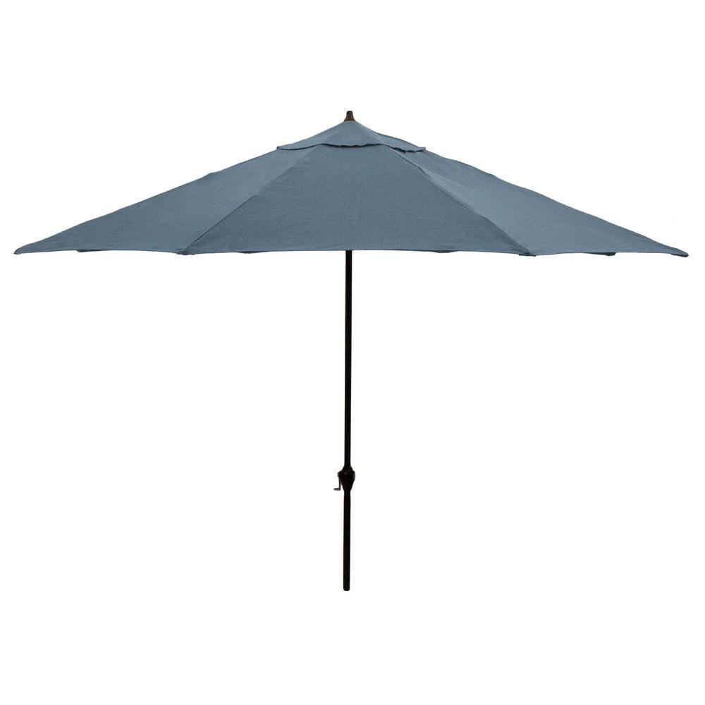 Hampton Bay 11 Ft. Aluminum Patio Umbrella In Sunbrella Canvas Sapphire