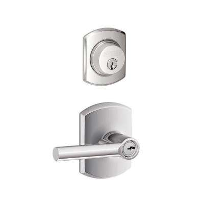 Greenwich Bright Chrome Single Cylinder Deadbolt with Broadway Entry Door Lever Combo Pack