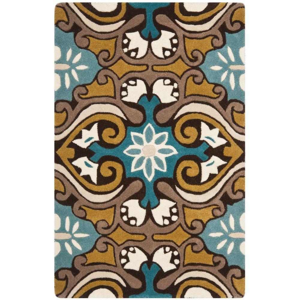 Wyndham Blue/Multi 2 ft. 6 in. x 4 ft. Area Rug