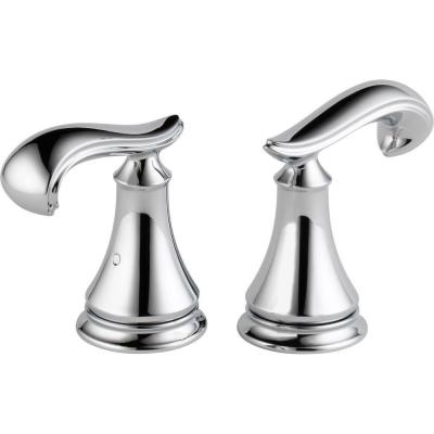 Pair of Cassidy Roman Tub Faucet French Curve Metal Lever Handles in Chrome