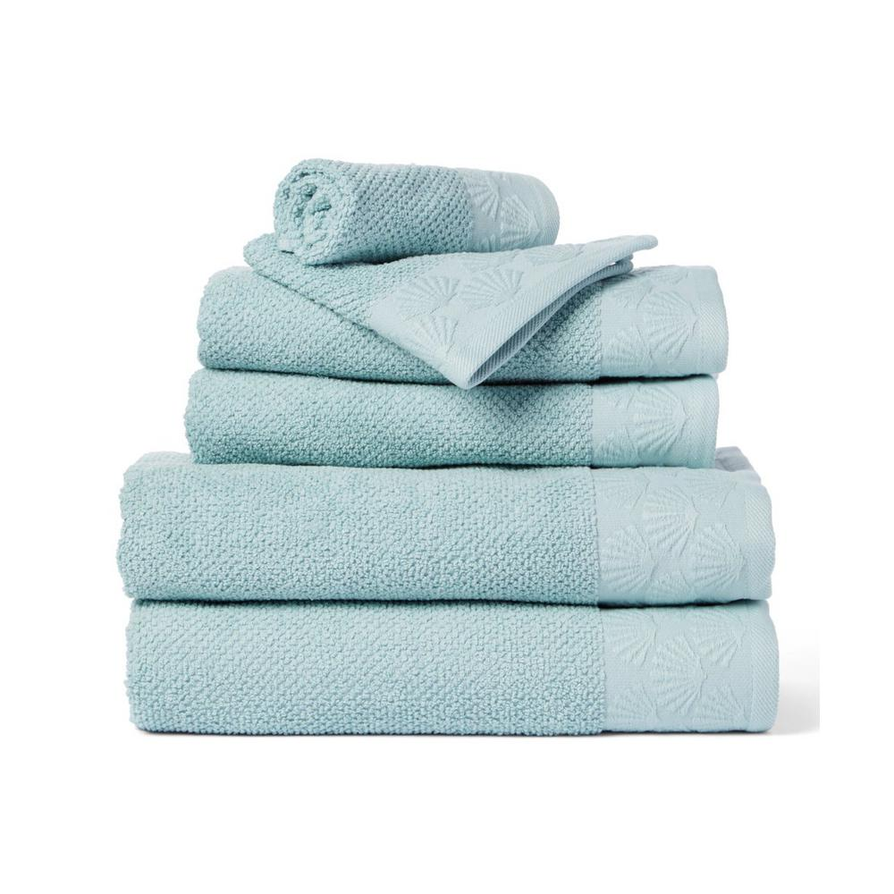 Coastal Shell 6 Piece 100 Cotton Bath Towel Set In Spa Blue