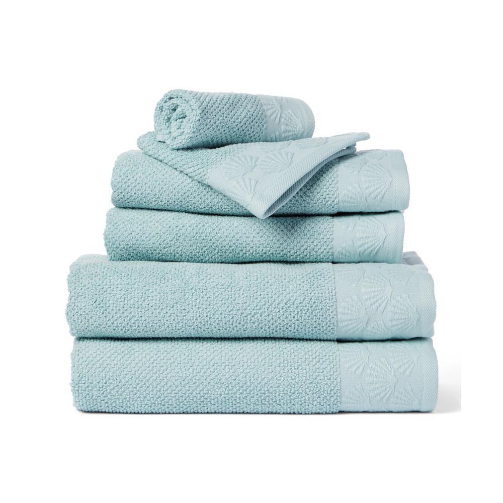 Coastal Shell 6-Piece 100% Cotton Bath Towel Set in Spa Blue