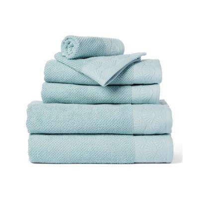 Coastal Shell 6-Piece 100% Cotton Bath Towel Set in Spa Blue