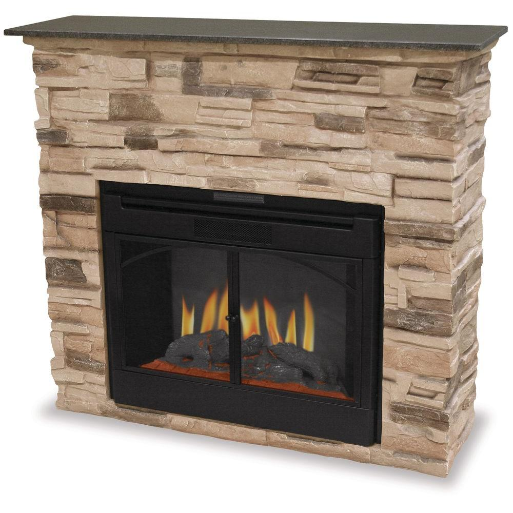 UniFlame 45 in. Electric Fireplace in Black/Faux Stone-DISCONTINUED