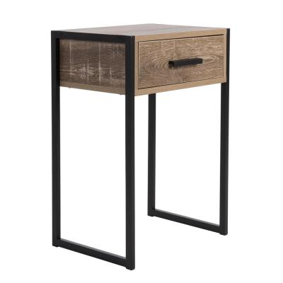 Tribeca 1-Drawer Weathered Wood Besdside Table