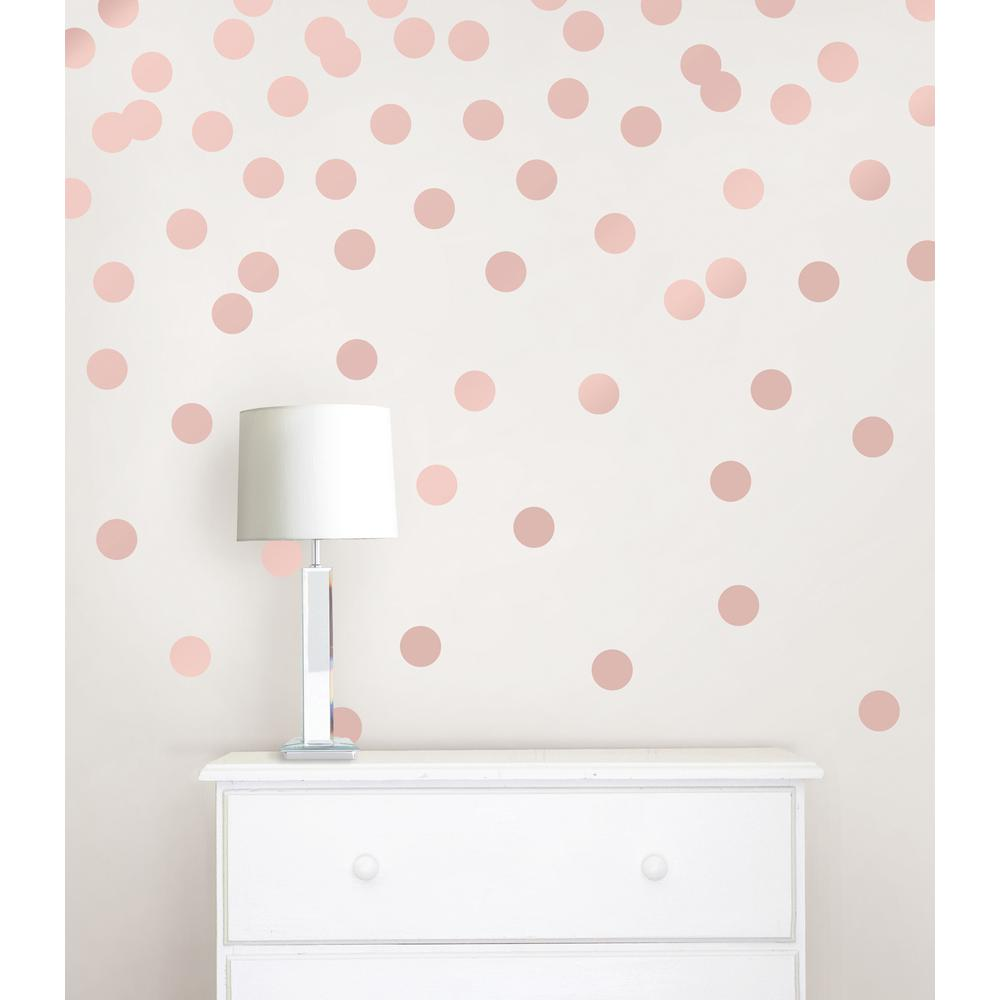 Rose Gold Confetti Dot 128-Piece Wall  sc 1 st  Home Depot : gold wall decals - www.pureclipart.com