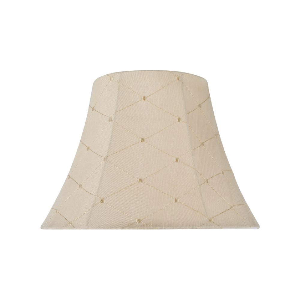 13 in. x 9.5 in. Beige and Embroidery Design Bell Lamp