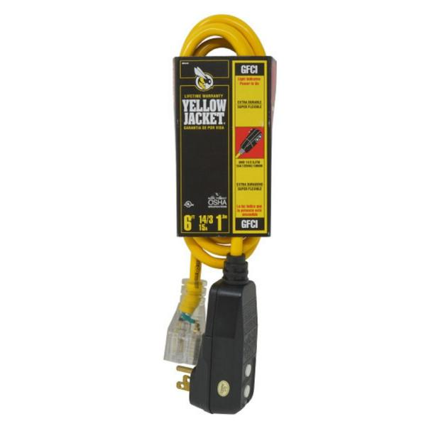 6 ft. 14/3 SJTW Right Angle GFCI Medium-Duty Extension Cord with Power Light Plug