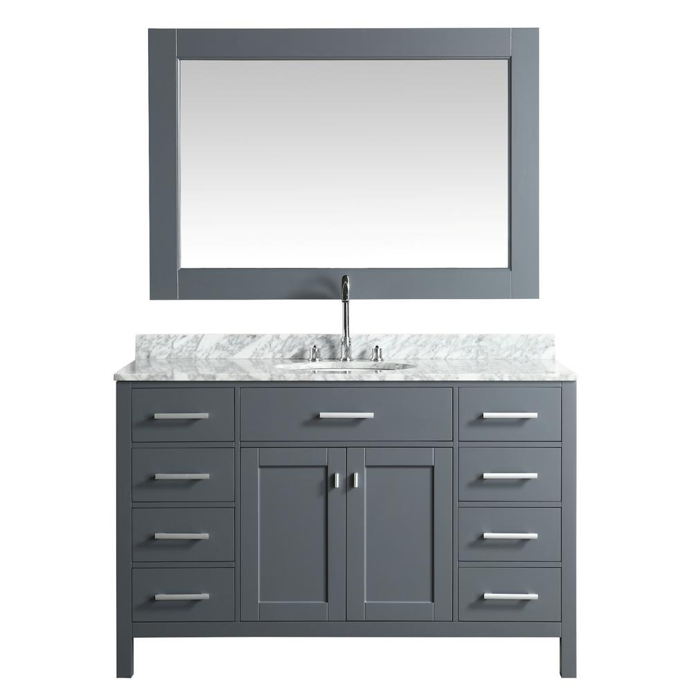 Design Element London 54 in. W x 22 in. D Vanity in Gray with Marble Vanity Top in Carrera White with White Basin and Mirror