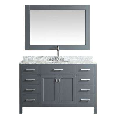 London 54 in. W x 22 in. D Vanity in Gray with Marble Vanity Top in Carrera White with White Basin and Mirror