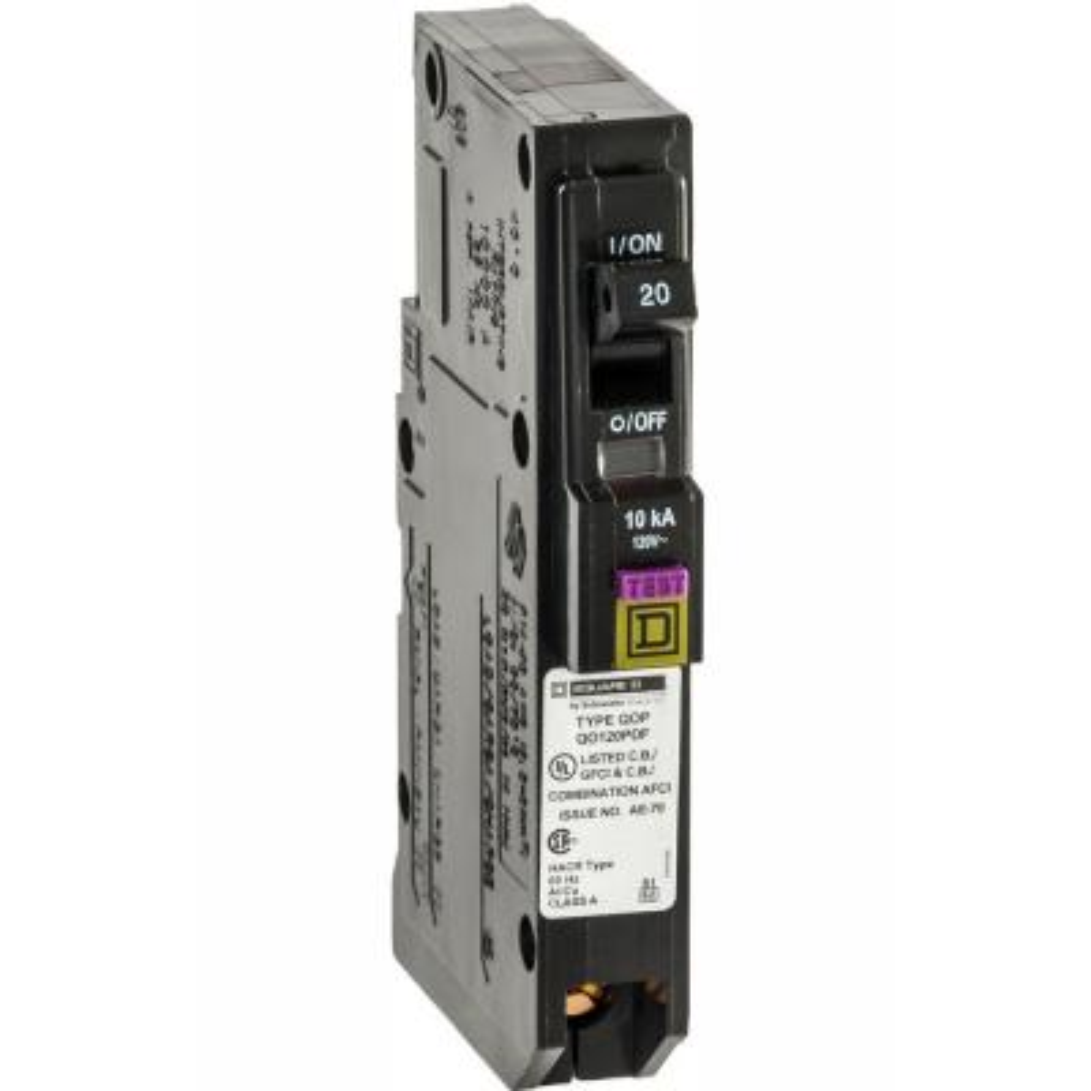 QO 20 Amp Single-Pole Plug-On Neutral Dual Function (CAFCI and GFCI) Circuit Breaker