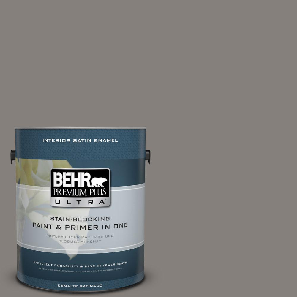 BEHR Premium Plus Ultra 1-Gal. #PPU18-17 Suede Gray Satin Enamel Interior Paint
