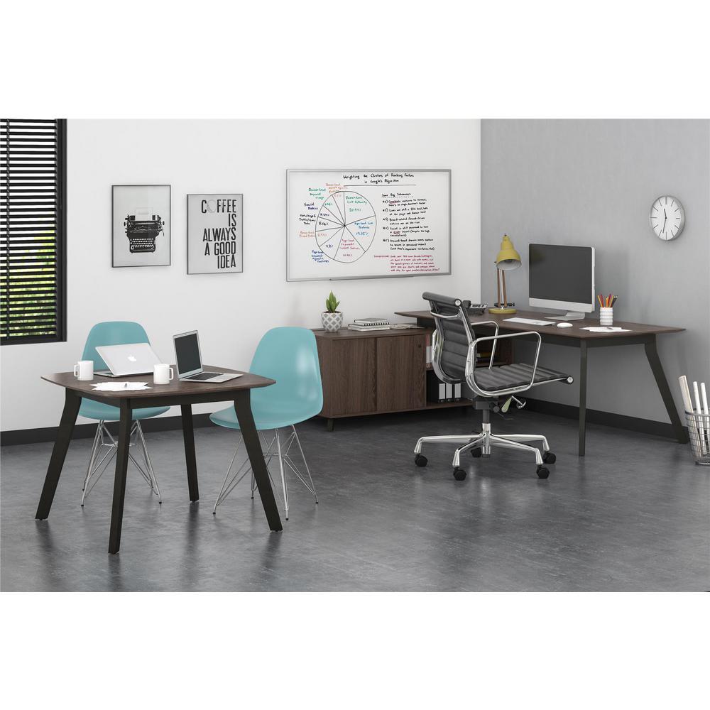AX1 L-Shape Walnut Desk and Square Meeting Table Bundle