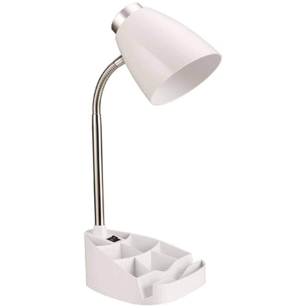 Neutral White Gooseneck Organizer Desk Lamp With Ipad Tablet Stand Book Holder