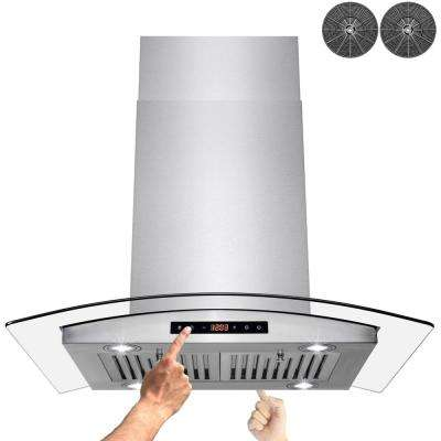 30 in. Convertible Kitchen Island Mount Range Hood in Stainless Steel with Dual Side Touch Control and Carbon Filters