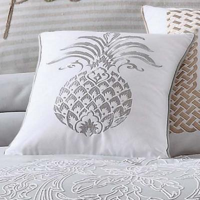 Tropical Plantation Grey and White Solid Hypoallergenic Down Alternative 22 in. x 12 in. Throw Pillow
