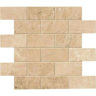 Crema Cappuccino 12 in. x 12 in. x 10 mm Polished Marble Mesh-Mounted Mosaic Tile (10 sq. ft. / case)