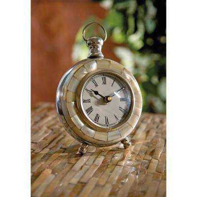 Levine Silver Metal Desk Clock