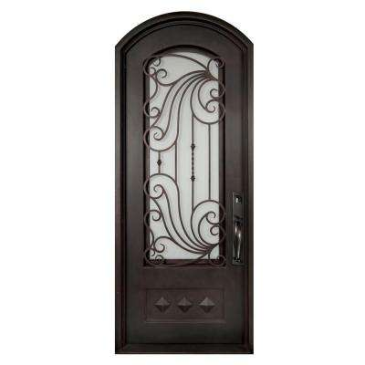 40 in. x 97.5 in. Mara Marea Classic 3/4 Lite Painted Oil Rubbed Bronze Wrought Iron Prehung Front Door
