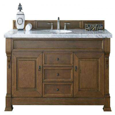 Brookfield 60 in. W Single Vanity in Country Oak with Marble Vanity Top in Carrara White with White Basin