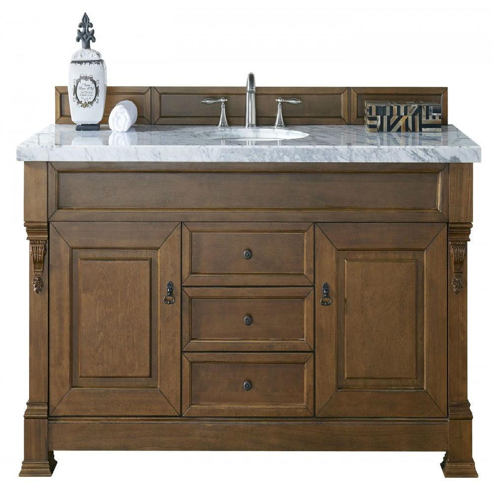 James Martin Signature Vanities Brookfield 60 In. W Single Vanity In  Country Oak With Marble Vanity Top In Carrara White With White  Basin 14711453714CAR ...