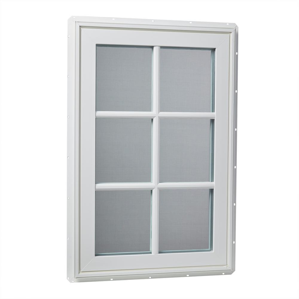 24 in. x 36 in. Left-Hand Vinyl Casement Window with Grids