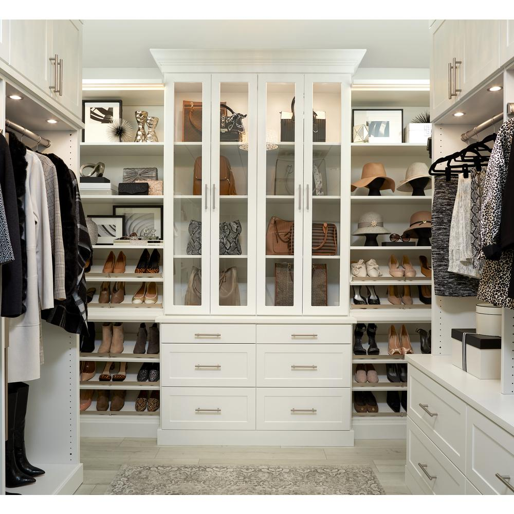 The Home Depot Installed Walk-In Wood Closet Organization System Keeping your closets organized can be a challenge without the necessary tools. No matter what part of your home needs organizing, The Home Depot has the perfect custom shelving and organization solutions for you. During an in-home consultation, we help you choose the right styles, colors and accessories to fit your needs. De-clutter with confidence knowing that any product you select, along with our expert installation, is 100% backed by The Home Depot.