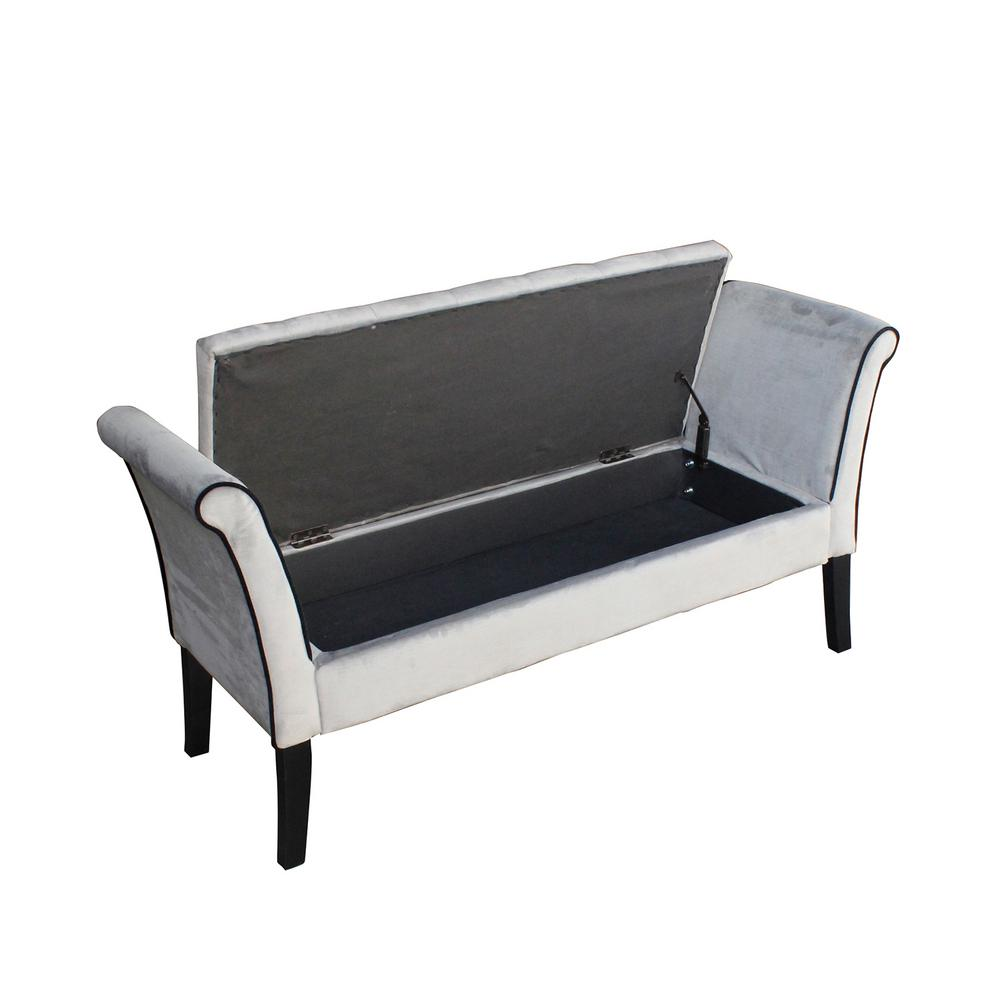 Ebello home tufted grey storage bench with arms o1002a the home depot Gray storage bench
