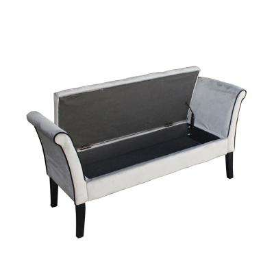 Tufted Grey Storage Bench with Arms