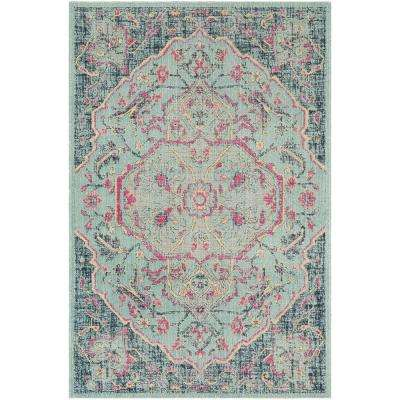 Artisan Light Blue/Navy 7 ft. x 9 ft. Area Rug