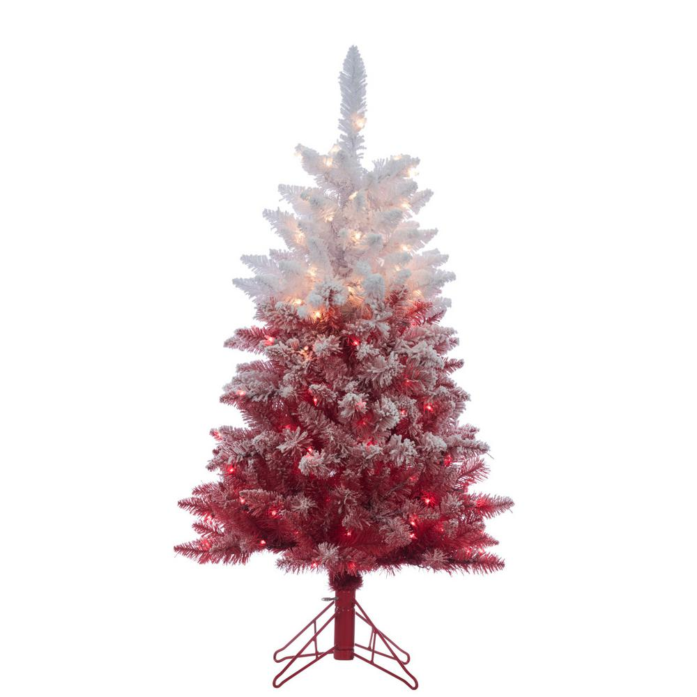 4 ft. Flocked Red Ombre Artificial Christmas Tree with 150 Clear ...
