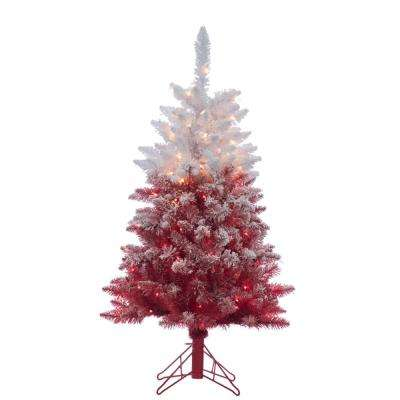 4 ft. Flocked Red Ombre Artificial Christmas Tree with 150 Clear Lights