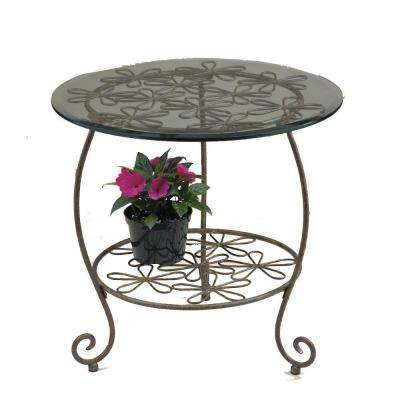 Daisy 22 in. W x 22 in. D x 22 in. H Patina Metal Round Patio Side Table