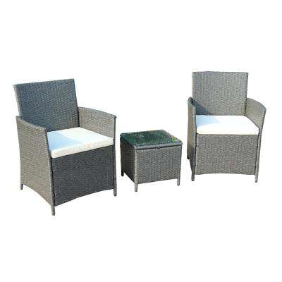 Gray 3-Piece Wicker Patio Conversation Set with White Cushions