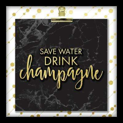 Save Water Drink Champagne 10 in. x 10 in. Shadowbox Wall Art