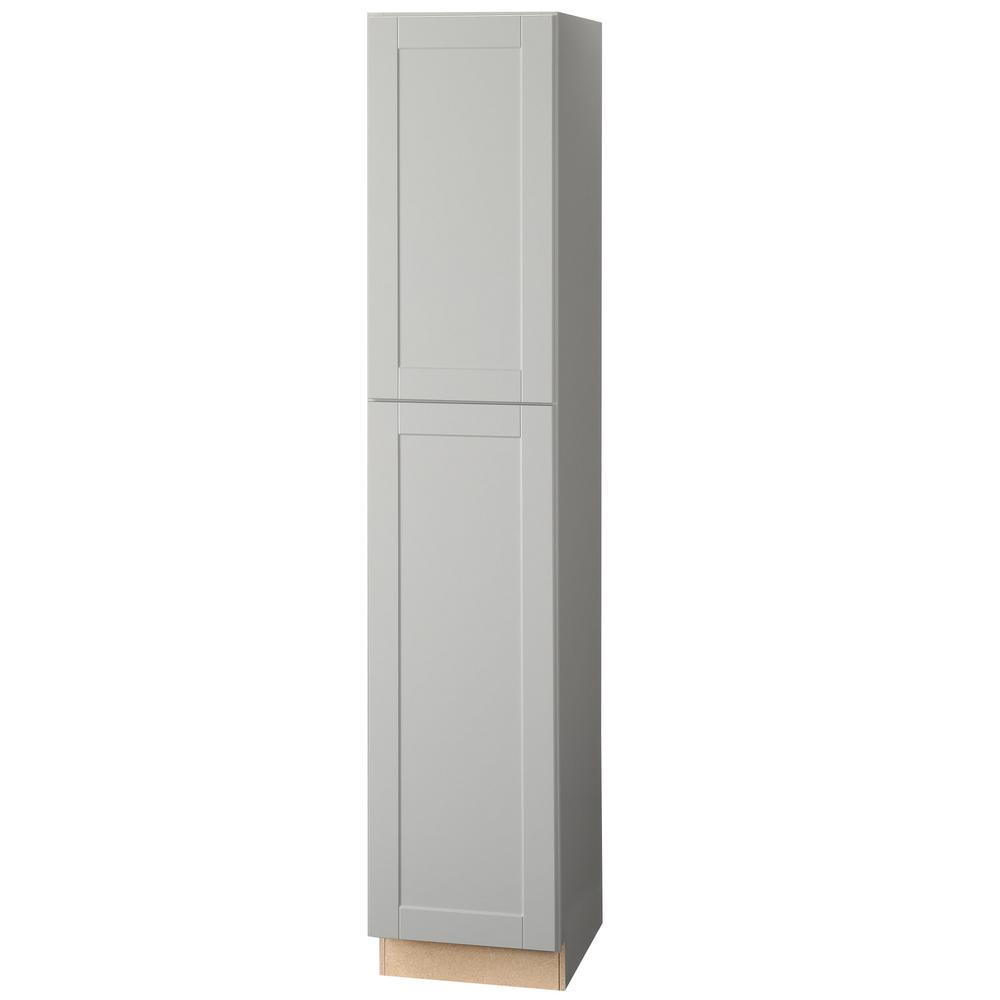 Hampton Bay Shaker Assembled 18 X 90 X 24 In Pantry Utility Kitchen Cabinet In Dove Gray Kp1890