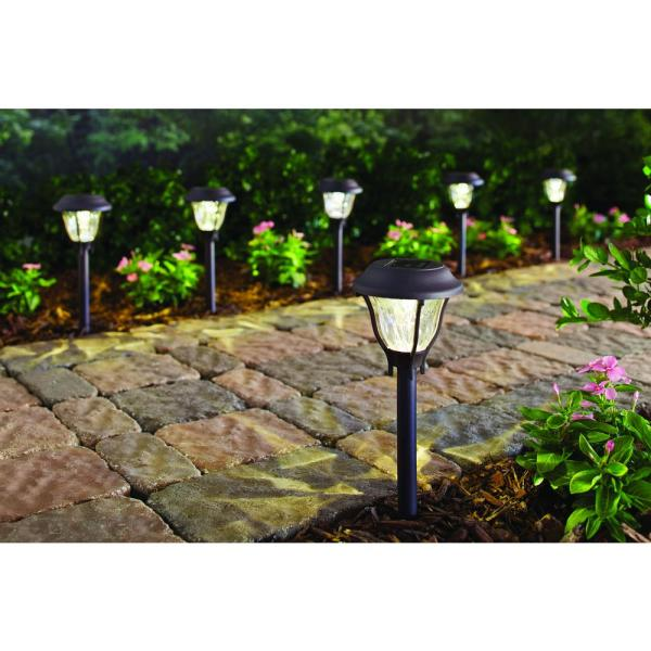 Hampton Bay-Solar Bronze Outdoor Integrated LED Landscape Path Light with Water Patterned Lens (6-Pack)