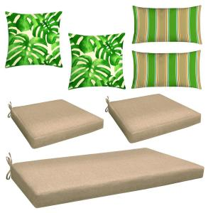 Charmant Honeycomb Neutral 7 Piece Outdoor Mix And Match Wicker Chair Cushion Set